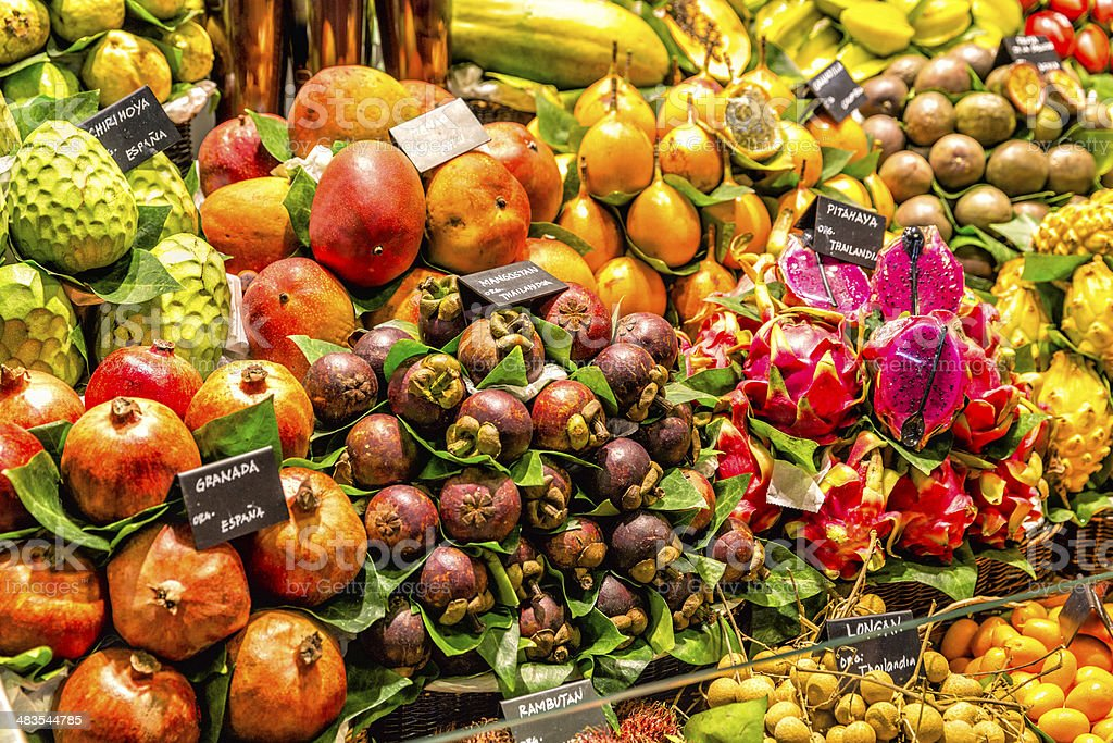 Food themes: Tropical exotic fruits on market stock photo
