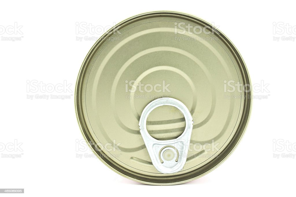 Food tin can lid isolated on white royalty-free stock photo