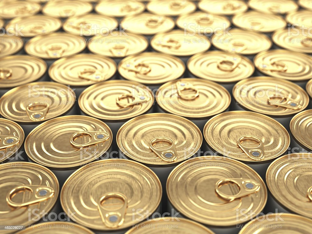Food tin cans. Groceries background. stock photo