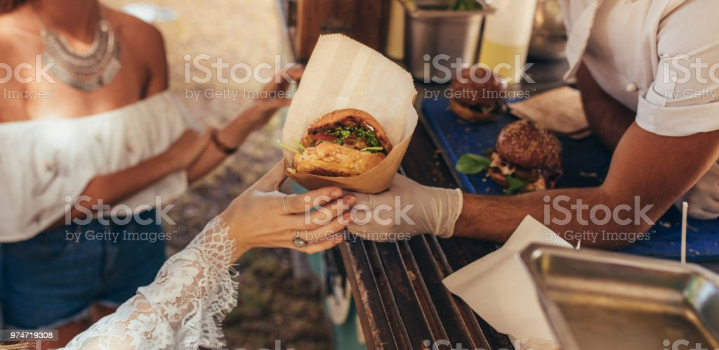 Food truck burger stock photo