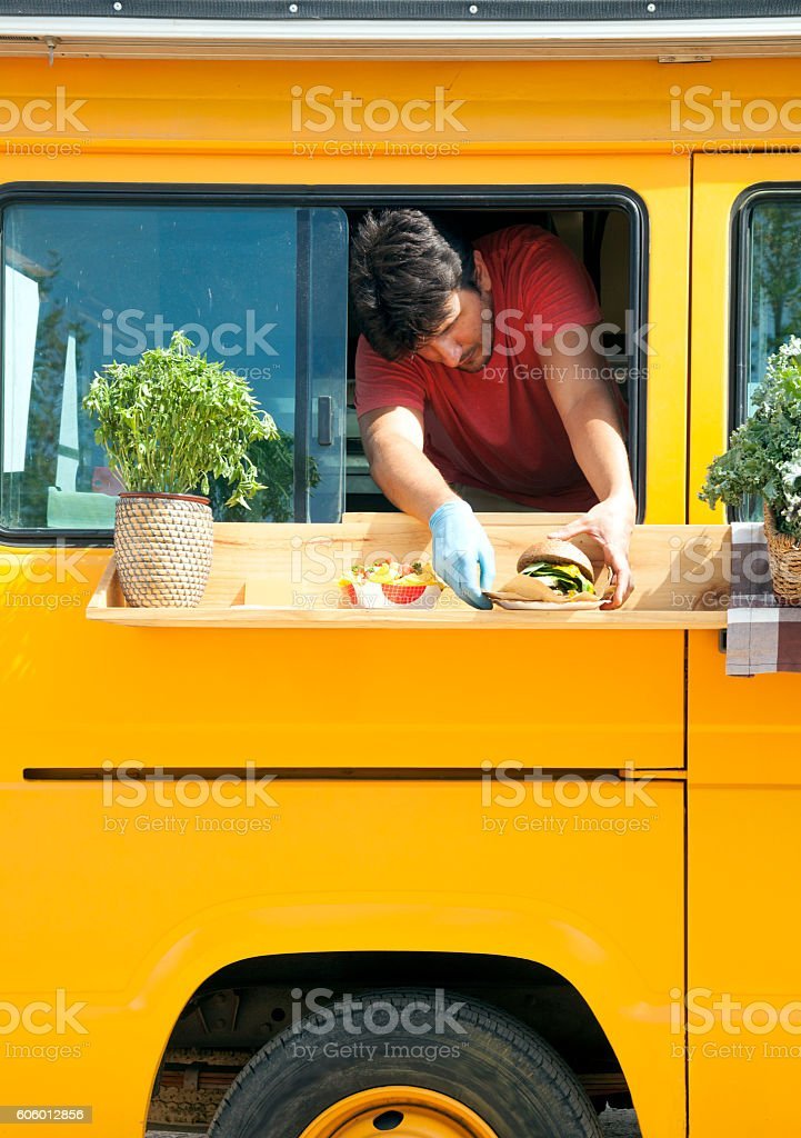 Food truck chef stock photo