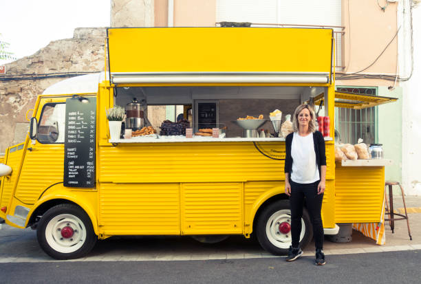 Food truck, churreria stock photo
