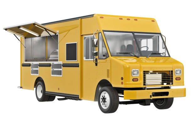 Food truck eatery Food truck eatery cafe on wheels. 3D rendering food truck stock pictures, royalty-free photos & images