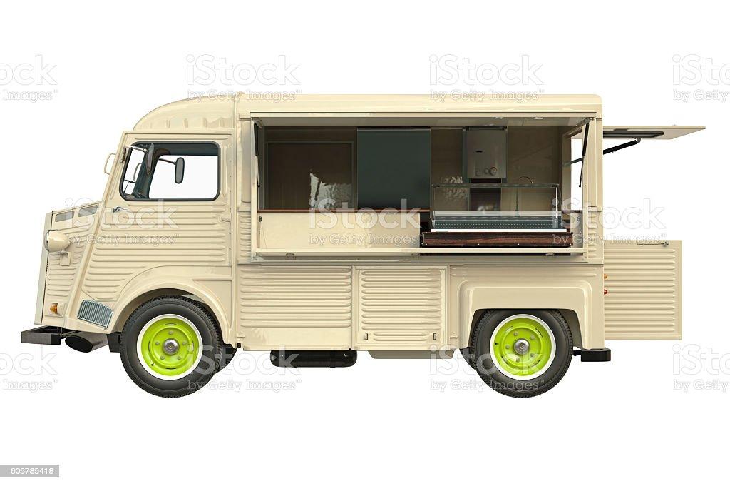 Food Truck Eatery Side View Lizenzfreies Stock Foto