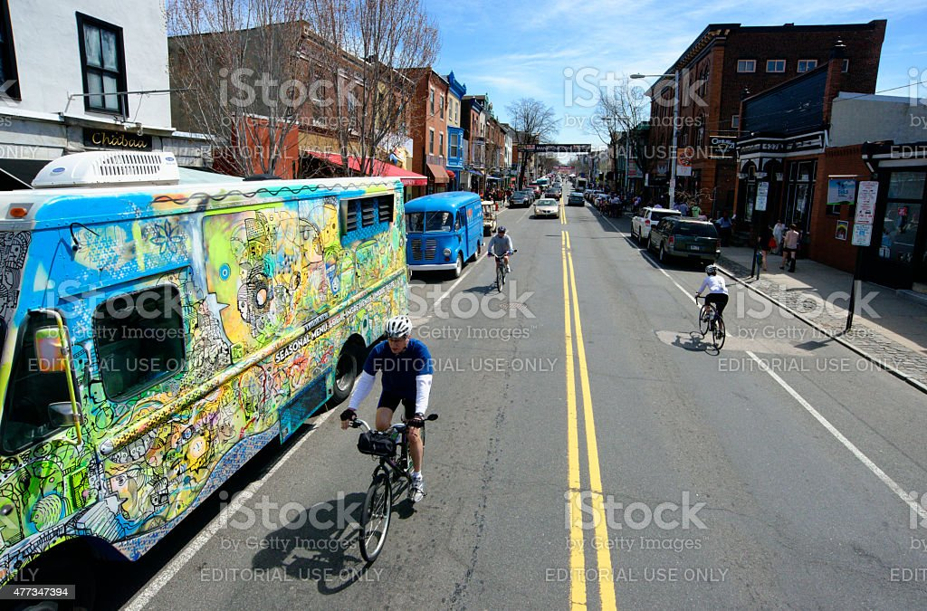 Food Truck Festival on Manayunk' Main Street in Philadelphia, PA stock photo