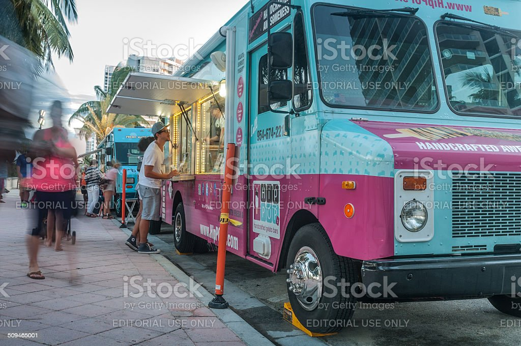 Food truck in Miami Beach stock photo