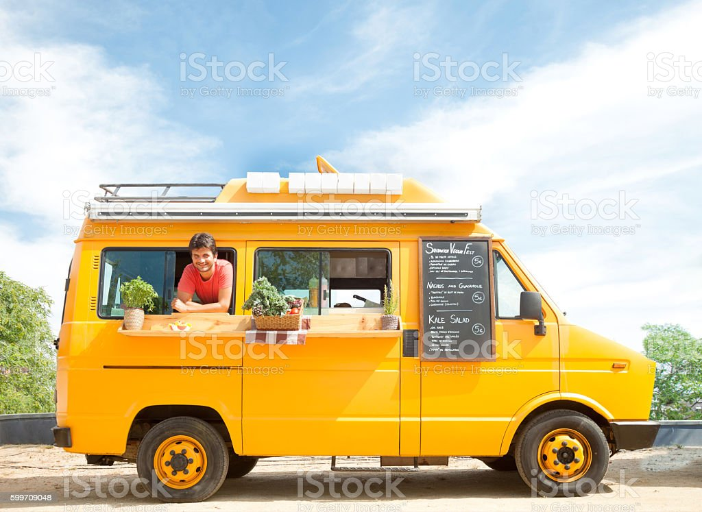 Food truck in the street stock photo