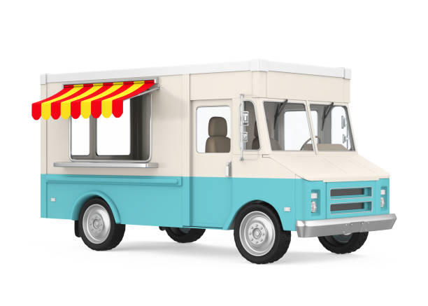 Food Truck Isolated Food Truck isolated on background. 3D render food truck stock pictures, royalty-free photos & images