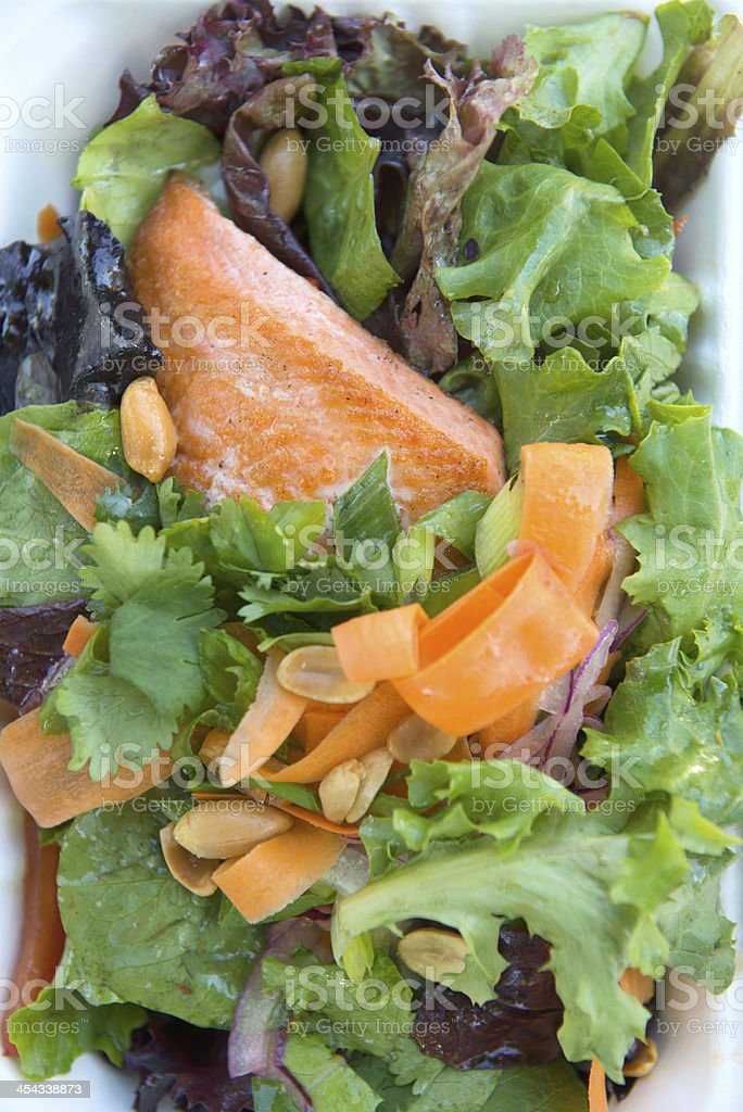 Food Truck Lunch - Steelhead Trout and Asian Salad royalty-free stock photo