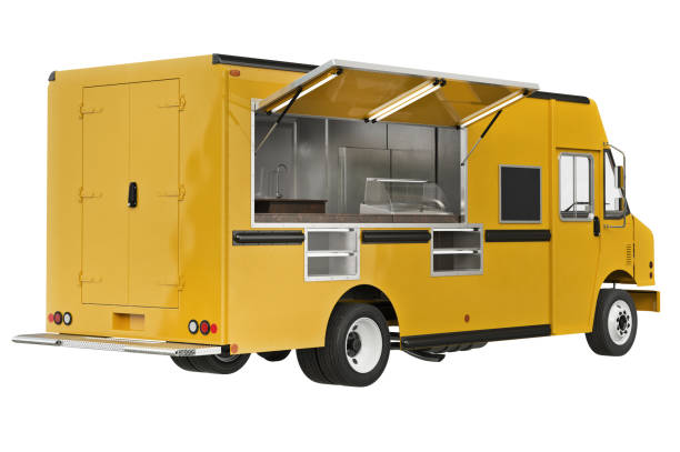 Food truck mobile cafe Food truck mobile yellow cafe. 3D rendering food truck stock pictures, royalty-free photos & images
