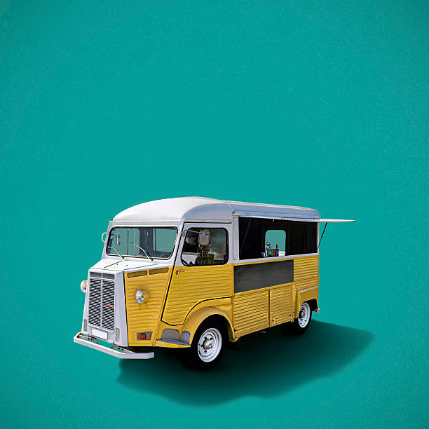 Food truck on turquoise background Yellow retro fast food truck on turquoise background, template with copy space food truck stock pictures, royalty-free photos & images