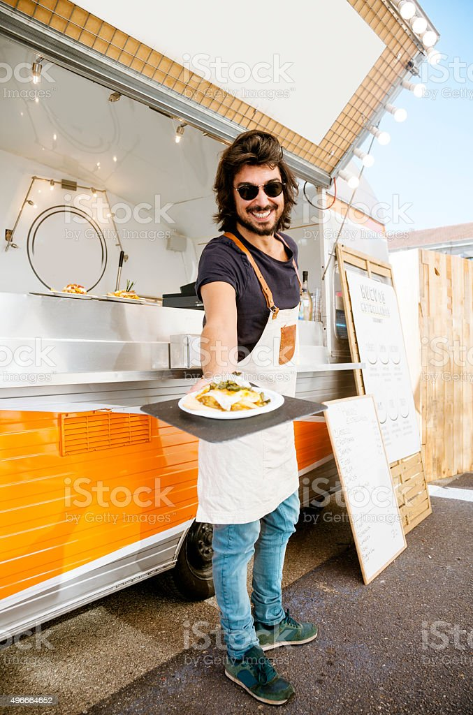 Food truck owner, happy stock photo