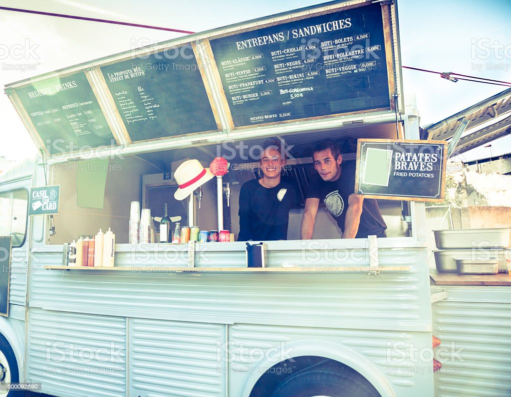 Food truck restaurant stock photo