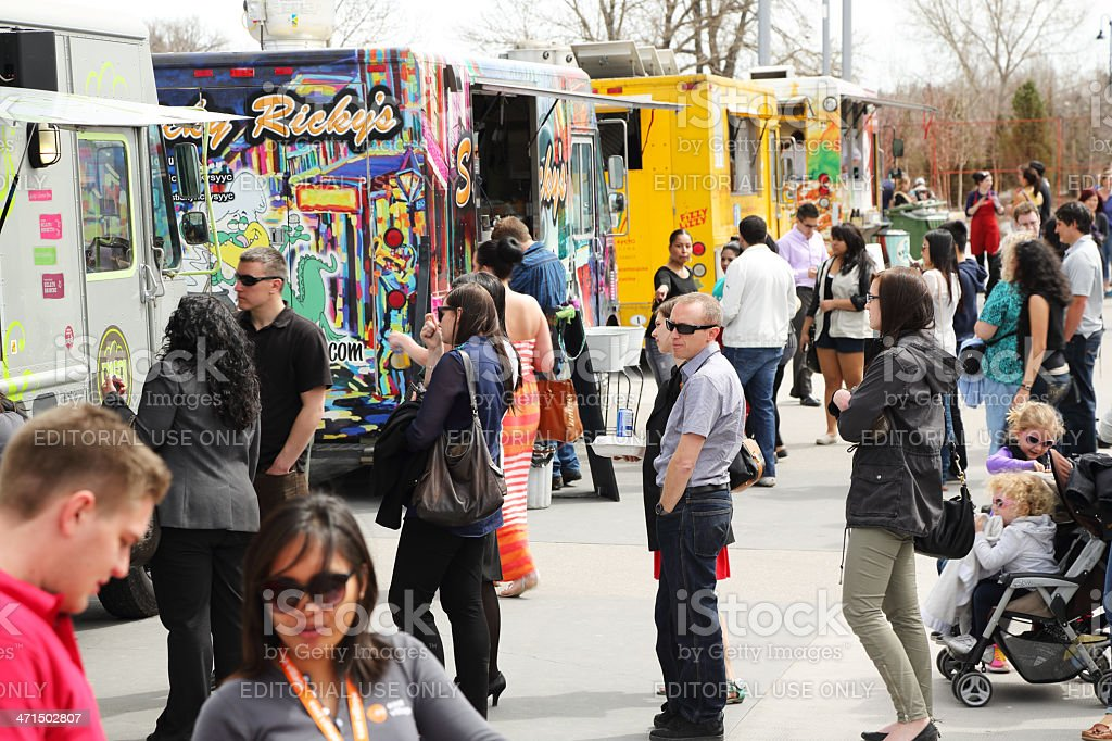 Food Trucks In Calgary's East Village stock photo