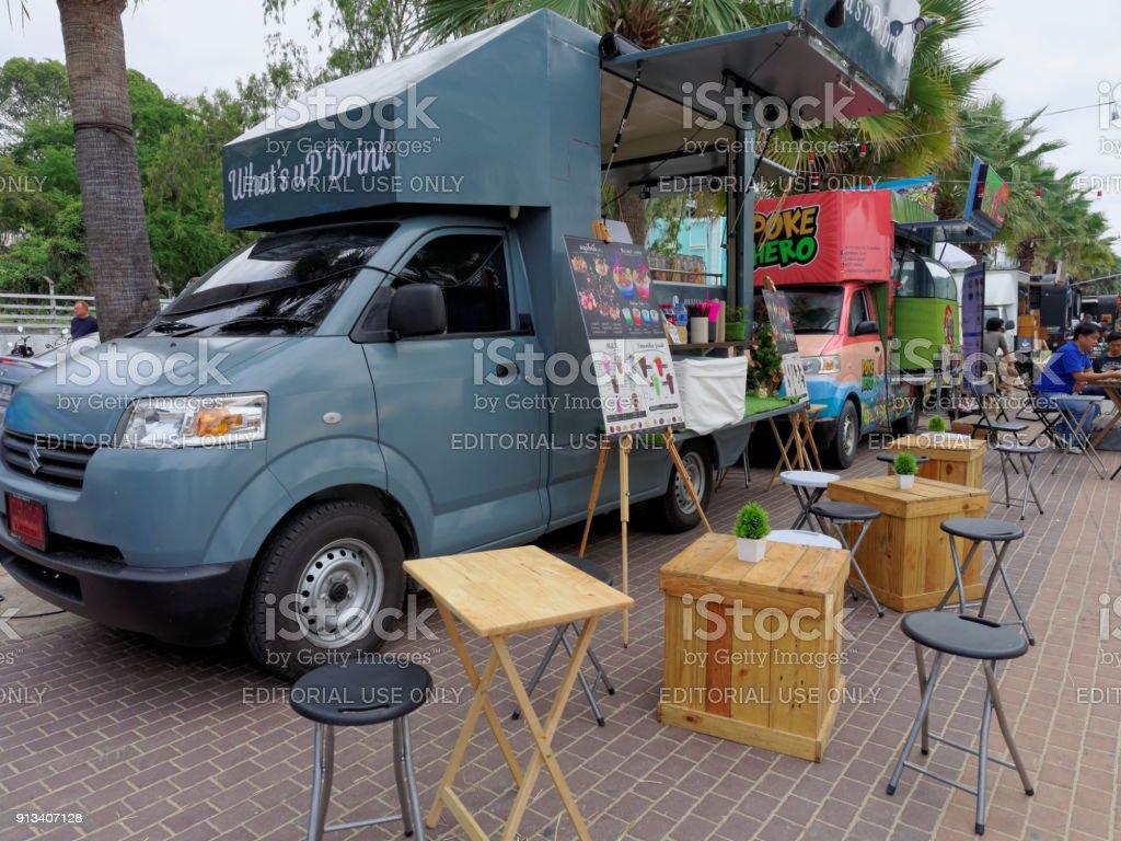 Food Trucks Selling Food And Dessert In Pattaya Arts