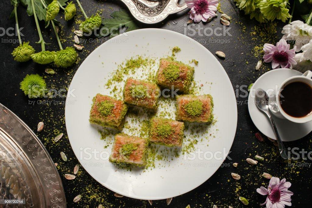 voedsel Turkse desssert ontbijt koffie concept - Royalty-free Achtergrond - Thema Stockfoto