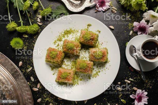 Voedsel Turkse Desssert Ontbijt Koffie Concept Stockfoto en meer beelden van Achtergrond - Thema