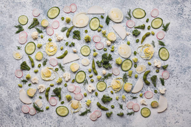 Food vegetables pattern chopped vegetables texture background stock photo