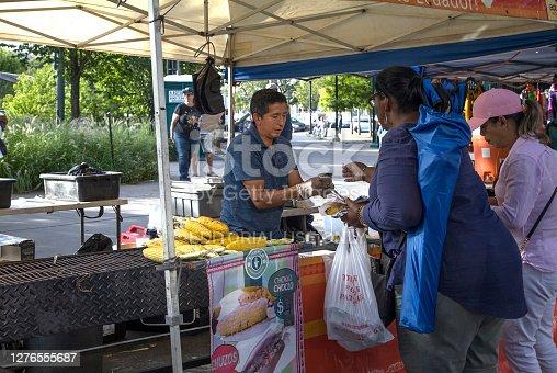Bronx, New York/USA - August 31, 2020: Vendor selling food duing outdoor festival near Yankee Stadium.