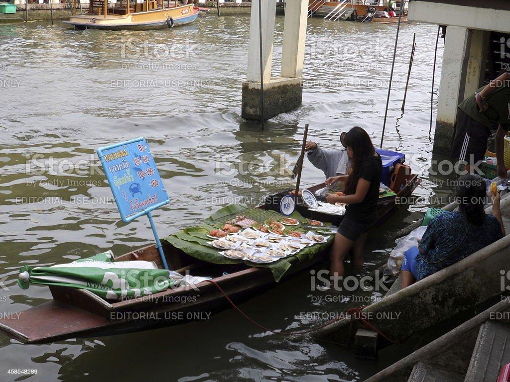 Food Vendors At Amphawa Floating Market In Thailand royalty-free stock photo