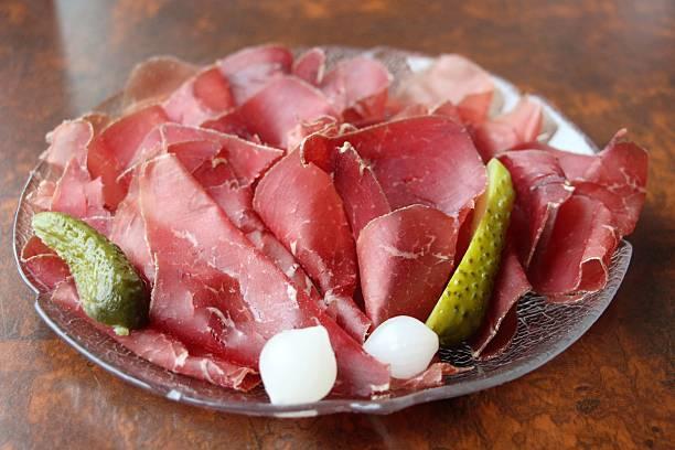 food - viande sechée des grisons stock photo