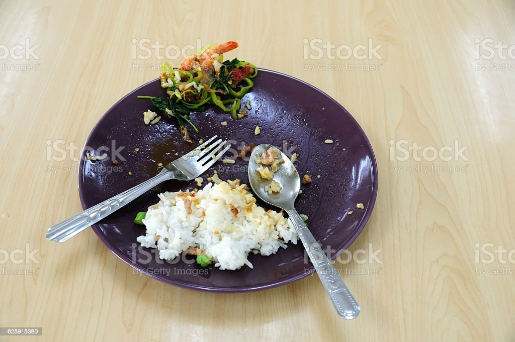Food waste in plate on wooden table. stock photo