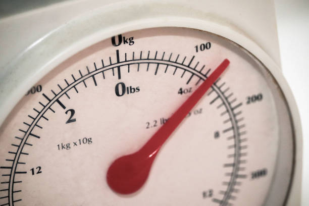 Food weighing scales stock photo
