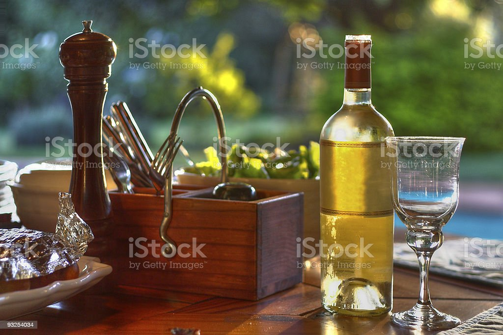 Food & Wine Next to the Pool royalty-free stock photo