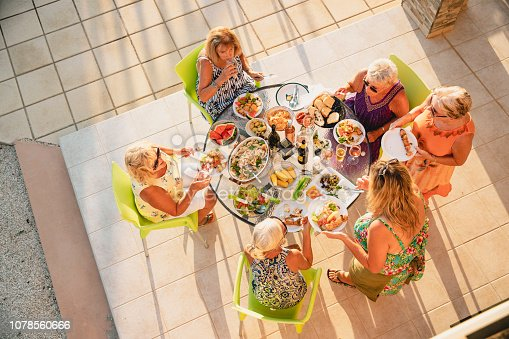 Group of senior female friends enjoying a meal together. They are sitting around a table outside, enjoying a barbecue and salad.