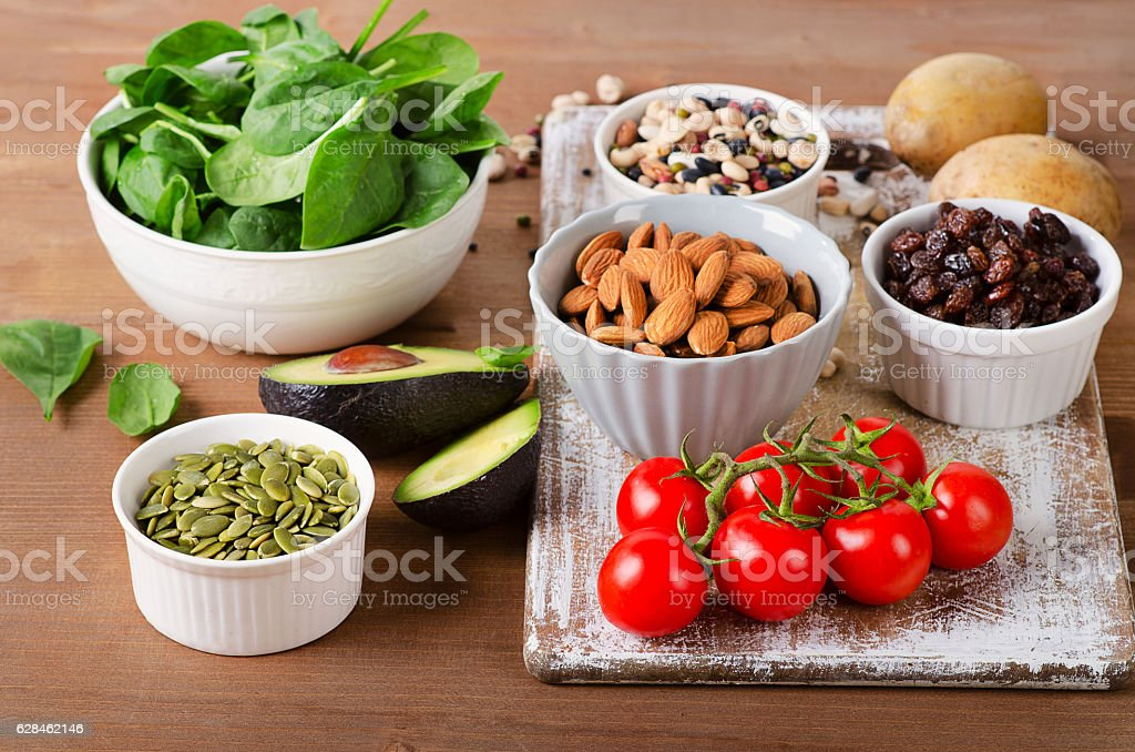Foods containing potassium on  wooden table stock photo