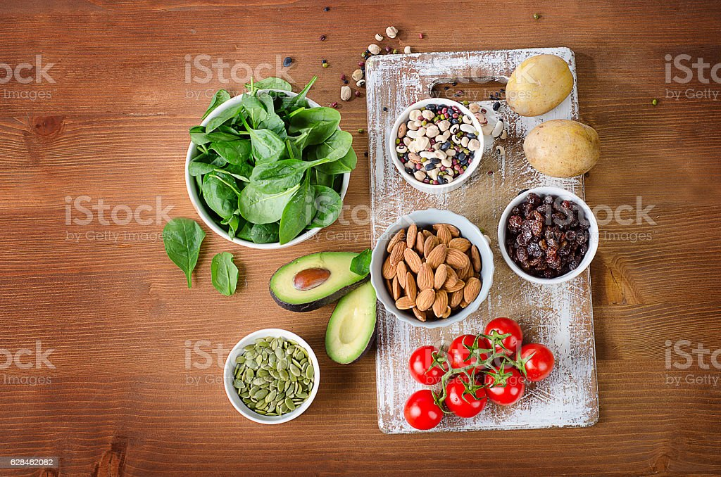 Foods containing potassium stock photo