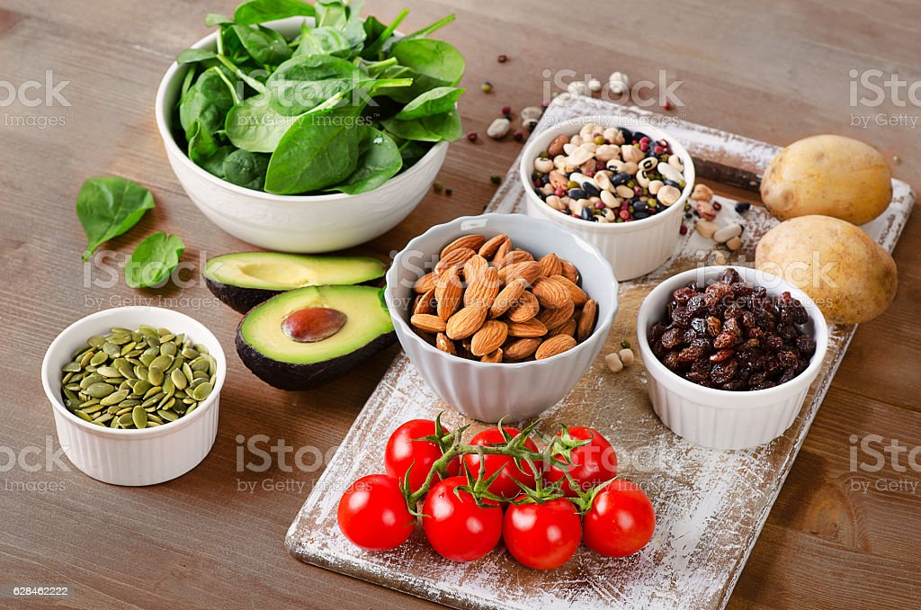 Foods containing potassium stock photo