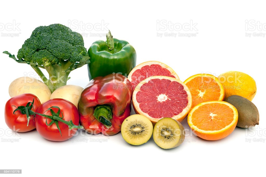 Foods Containing Vitamin C Isolated on White stock photo