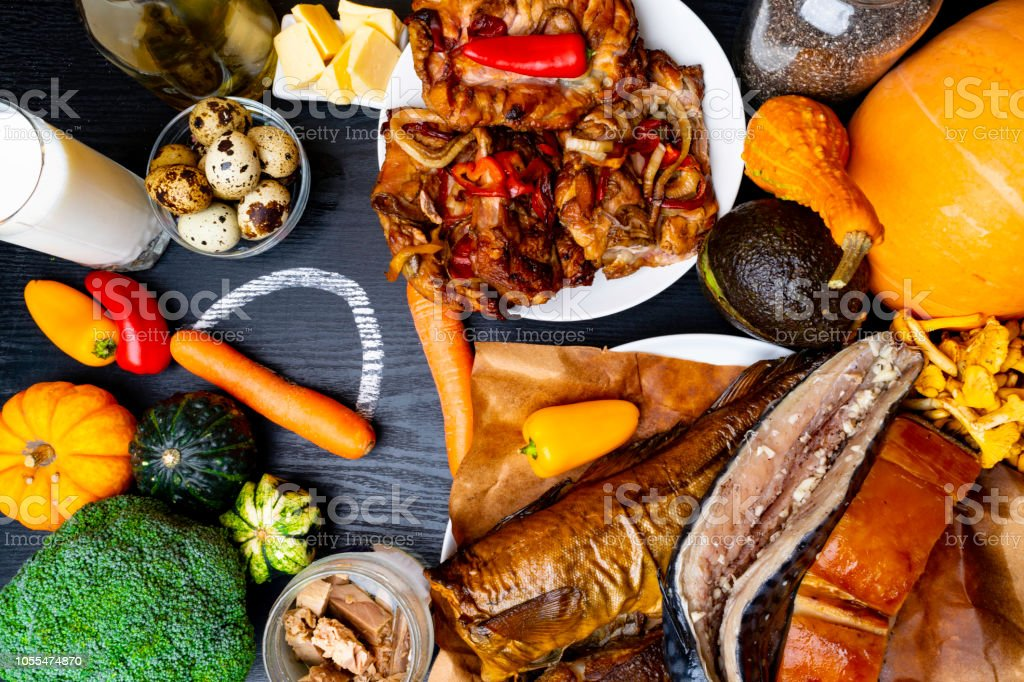 Foods Containing Vitamin D On Wooden Background Top View Stock Photo Download Image Now Istock