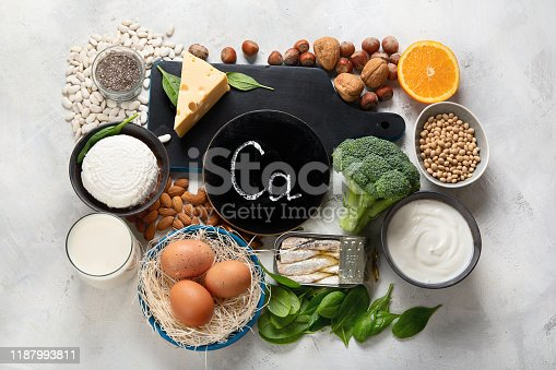 Foods High in Calcium for bone health, muscle constraction, lower cancer risks, weight loss. Top view