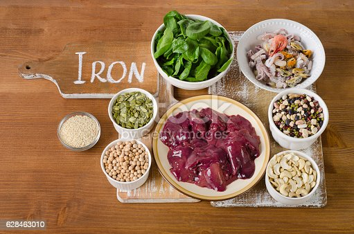 Foods high in Iron on wooden table. Top view