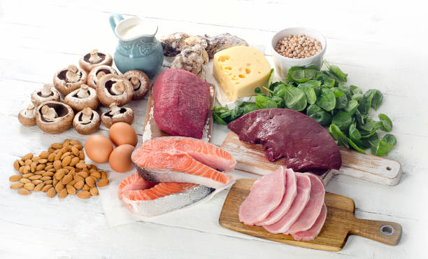 Foods Highest in Vitamin B2 stock photo