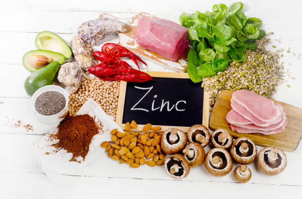 Foods Highest in Zinc stock photo