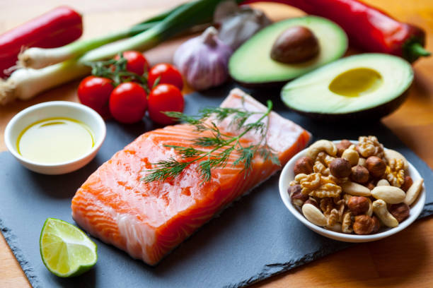 foods items high in healthy omega-3 fats. - paleo diet stock photos and pictures