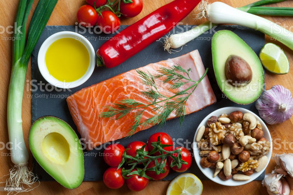 Foods Items High in Healthy Omega-3 Fats. stock photo