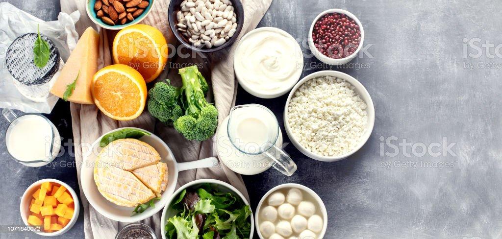 Foods rich in calcium. stock photo