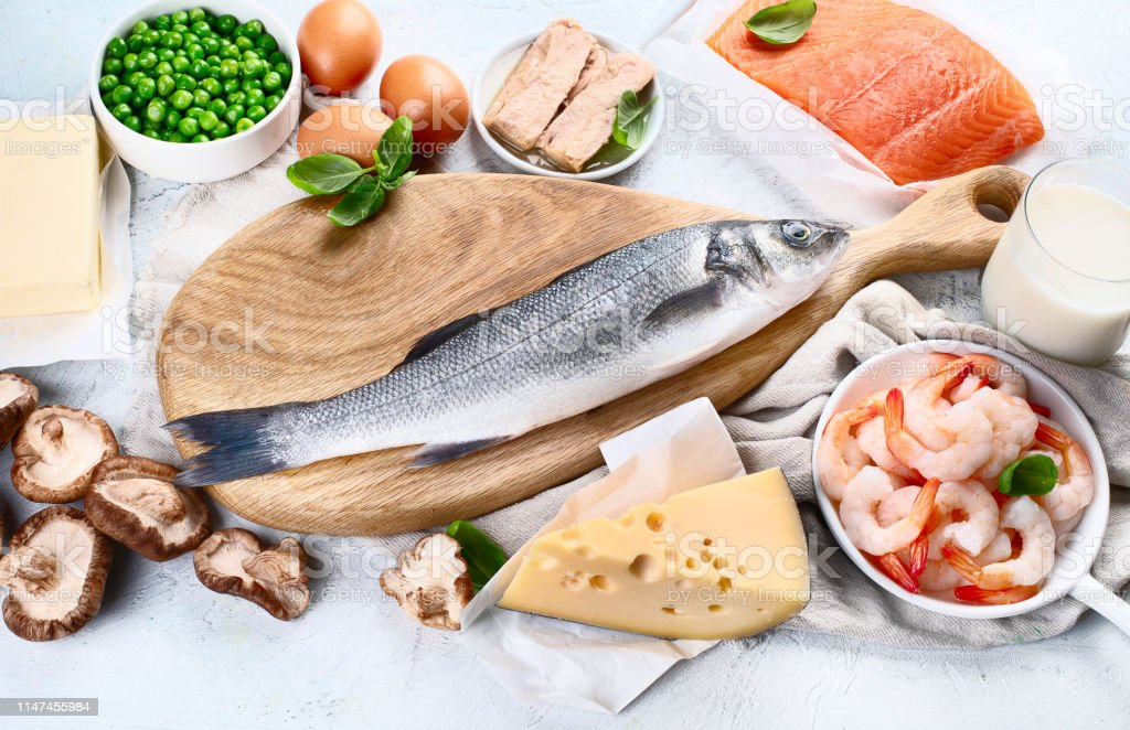 Foods rich in natural vitamin D. Balanced diet nutrition. Healthy...