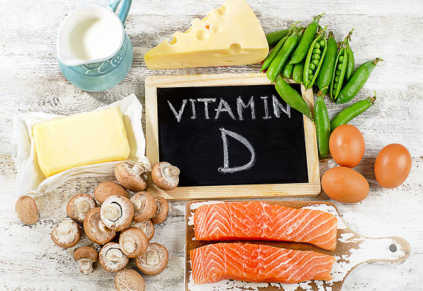Foods rich in vitamin D. stock photo
