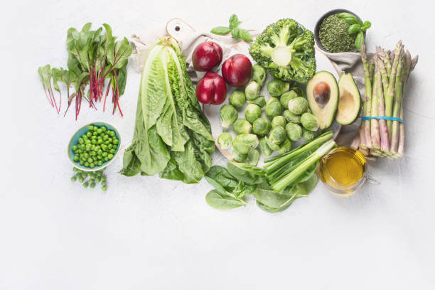 Foods rich in vitamin K. stock photo