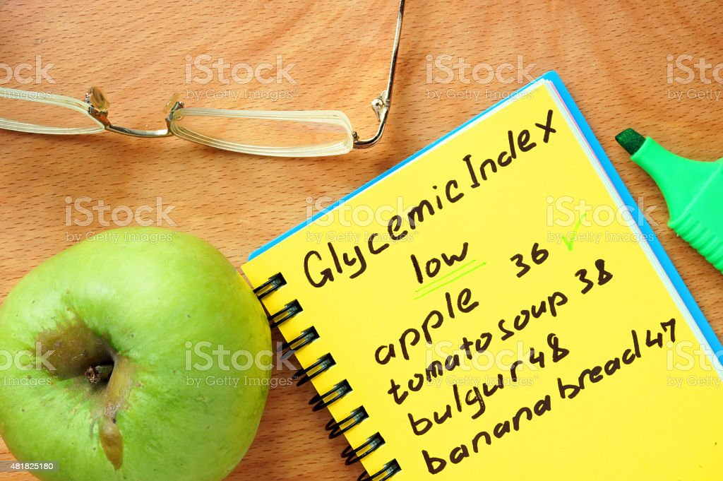 Foods with low Glycemic index list. stock photo