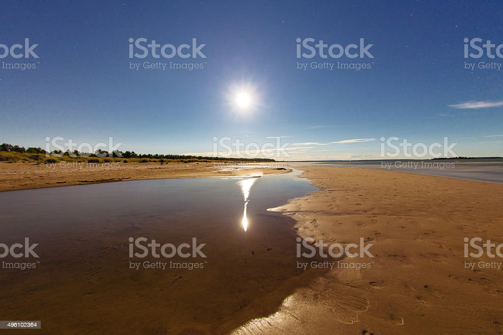 Fool moon of Siberia river and the Yamal stock photo