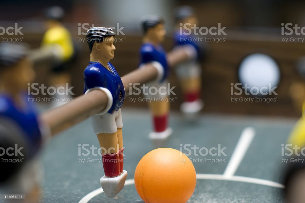 foosball game blue team close up royalty-free stock photo