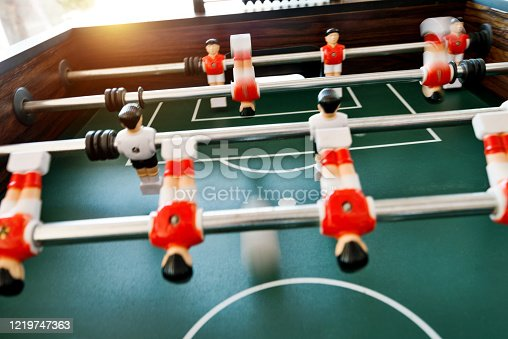 Close up of foosball game.