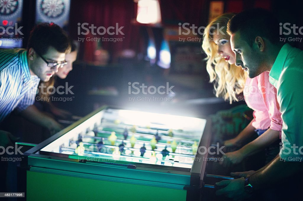 Foosball night. stock photo