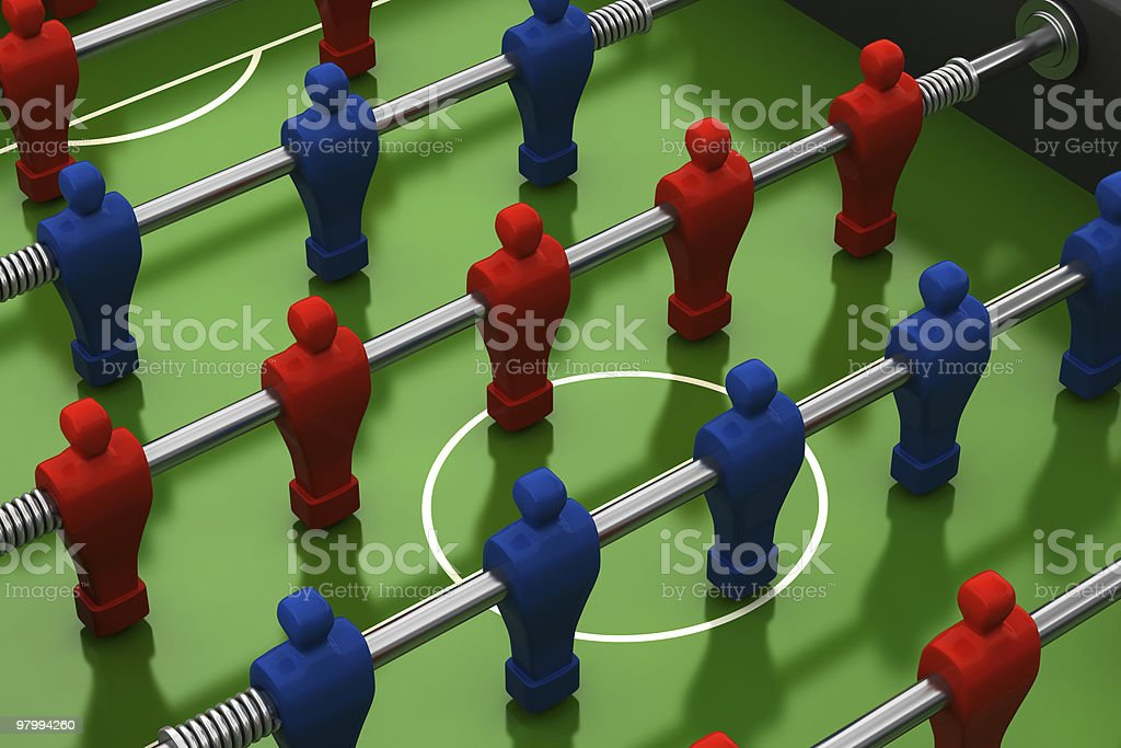 foosball table with red and blue players royalty-free stock photo